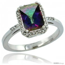 10k White Gold Diamond Mystic Topaz Ring 1.6 ct Emerald Shape 8x6 mm, 1/2 in wide -Style Cw908129