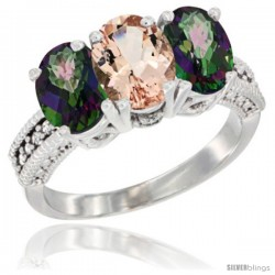10K White Gold Natural Morganite & Mystic Topaz Sides Ring 3-Stone Oval 7x5 mm Diamond Accent