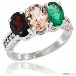 14K White Gold Natural Garnet, Morganite & Emerald Ring 3-Stone 7x5 mm Oval Diamond Accent
