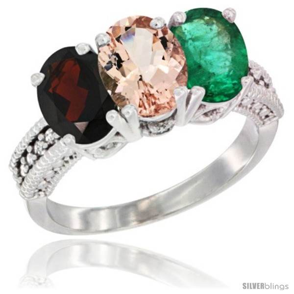 https://www.silverblings.com/5559-thickbox_default/14k-white-gold-natural-garnet-morganite-emerald-ring-3-stone-7x5-mm-oval-diamond-accent.jpg