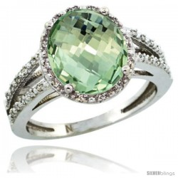 Sterling Silver Diamond Halo Natural Green Amethyst Ring 2.85 Carat Oval Shape 11X9 mm, 7/16 in (11mm) wide