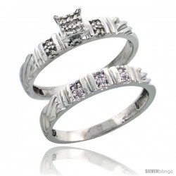 Sterling Silver Ladies' 2-Piece Diamond Engagement Wedding Ring Set Rhodium finish, 1/8 in wide -Style Ag017e2