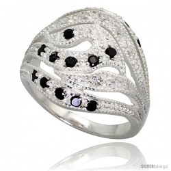 Sterling Silver Freeform Ring, High Quality Black & White CZ Stones, 3/4 in (18 mm) wide