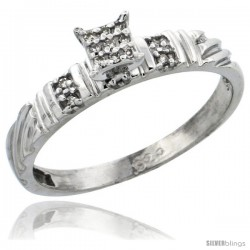 Sterling Silver Diamond Engagement Ring Rhodium finish, 1/8inch wide -Style Ag017er