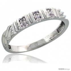 Sterling Silver Ladies' Diamond Wedding Band Rhodium finish, 1/8 in wide -Style Ag017lb