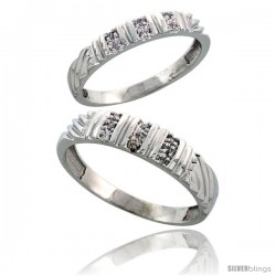 Sterling Silver Diamond 2 Piece Wedding Ring Set His 5mm & Hers 3.5mm Rhodium finish -Style Ag017w2