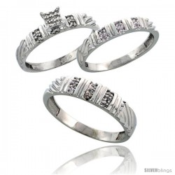 Sterling Silver Diamond Trio Wedding Ring Set His 5mm & Hers 3.5mm Rhodium finish -Style Ag017w3