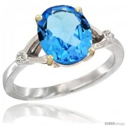10k White Gold Diamond Swiss Blue Topaz Ring 2.4 ct Oval Stone 10x8 mm, 3/8 in wide