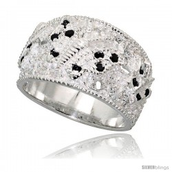 Sterling Silver Butterfly Dome Band, High Quality Black & White CZ Stones, 1/2 in (11 mm) wide