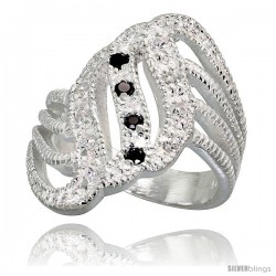 Sterling Silver Fan-shaped Ring, High Quality Black & White CZ Stones, 7/8 in (23 mm) wide
