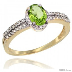 10k Yellow Gold Ladies Natural Peridot Ring oval 6x4 Stone -Style Cy911178
