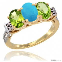 10K Yellow Gold Natural Turquoise & Peridot Sides Ring 3-Stone Oval 7x5 mm Diamond Accent