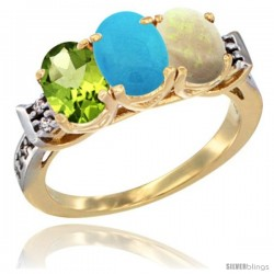 10K Yellow Gold Natural Peridot, Turquoise & Opal Ring 3-Stone Oval 7x5 mm Diamond Accent