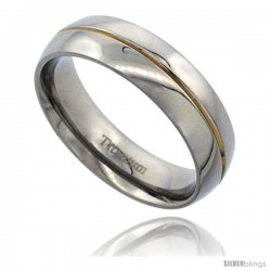 Titanium 6mm Dome Wedding Band Ring Gold Plated Center Groove Polished Finish Comfort-fit