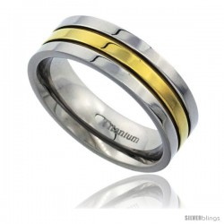 Titanium 7mm Flat Wedding Band Ring Gold Stripe Center polished Finish Comfort-fit