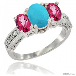 14k White Gold Ladies Oval Natural Turquoise 3-Stone Ring with Pink Topaz Sides Diamond Accent