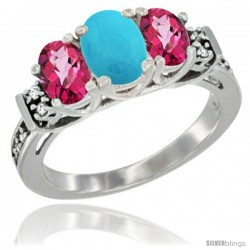 14K White Gold Natural Turquoise & Pink Topaz Ring 3-Stone Oval with Diamond Accent