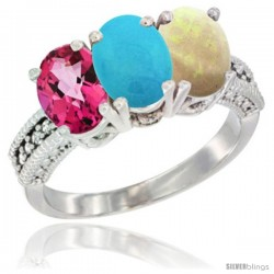14K White Gold Natural Pink Topaz, Turquoise & Opal Ring 3-Stone 7x5 mm Oval Diamond Accent