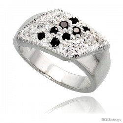 Sterling Silver Rhombus Ring, High Quality Black & White CZ Stones, 3/8 in (9 mm) wide