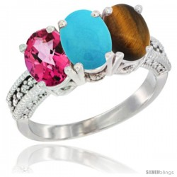 14K White Gold Natural Pink Topaz, Turquoise & Tiger Eye Ring 3-Stone 7x5 mm Oval Diamond Accent