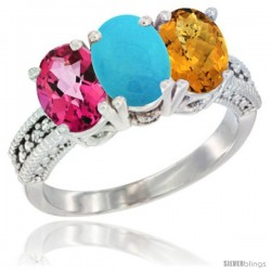 14K White Gold Natural Pink Topaz, Turquoise & Whisky Quartz Ring 3-Stone 7x5 mm Oval Diamond Accent