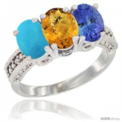 14K White Gold Natural Turquoise, Whisky Quartz & Tanzanite Ring 3-Stone 7x5 mm Oval Diamond Accent