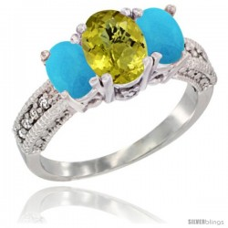 14k White Gold Ladies Oval Natural Lemon Quartz 3-Stone Ring with Turquoise Sides Diamond Accent