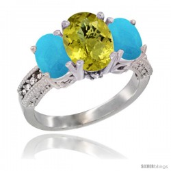 14K White Gold Ladies 3-Stone Oval Natural Lemon Quartz Ring with Turquoise Sides Diamond Accent