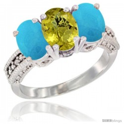 14K White Gold Natural Lemon Quartz & Turquoise Sides Ring 3-Stone 7x5 mm Oval Diamond Accent