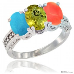 14K White Gold Natural Turquoise, Lemon Quartz & Coral Ring 3-Stone 7x5 mm Oval Diamond Accent