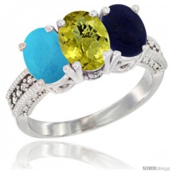 14K White Gold Natural Turquoise, Lemon Quartz & Lapis Ring 3-Stone 7x5 mm Oval Diamond Accent