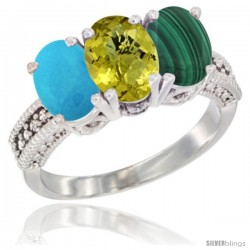 14K White Gold Natural Turquoise, Lemon Quartz & Malachite Ring 3-Stone 7x5 mm Oval Diamond Accent