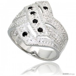 Sterling Silver Diamond-shaped Ring, High Quality Black & White CZ Stones, 3/4 in (18 mm) wide, size 6