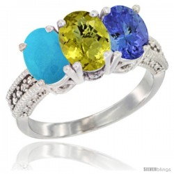 14K White Gold Natural Turquoise, Lemon Quartz & Tanzanite Ring 3-Stone 7x5 mm Oval Diamond Accent