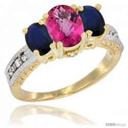 14k Yellow Gold Ladies Oval Natural Pink Topaz 3-Stone Ring with Blue Sapphire Sides Diamond Accent