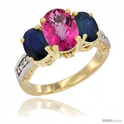 14K Yellow Gold Ladies 3-Stone Oval Natural Pink Topaz Ring with Blue Sapphire Sides Diamond Accent