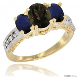 14k Yellow Gold Ladies Oval Natural Smoky Topaz 3-Stone Ring with Blue Sapphire Sides Diamond Accent