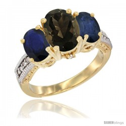 14K Yellow Gold Ladies 3-Stone Oval Natural Smoky Topaz Ring with Blue Sapphire Sides Diamond Accent