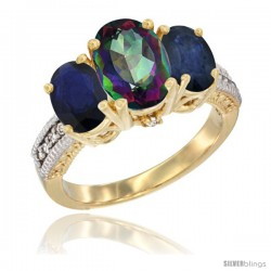 14K Yellow Gold Ladies 3-Stone Oval Natural Mystic Topaz Ring with Blue Sapphire Sides Diamond Accent