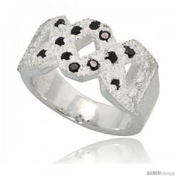 Sterling Silver Double X Crisscross Ring, High Quality Black & White CZ Stones, 3/8 in (10 mm) wide