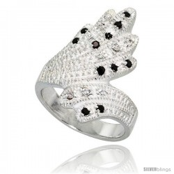 Sterling Silver Fan-shaped Ring, High Quality Black & White CZ Stones, 1 in (24 mm) wide