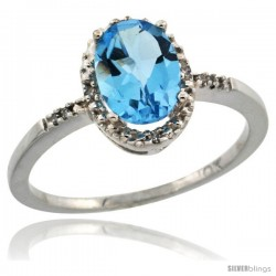 10k White Gold Diamond Swiss Blue Topaz Ring 1.17 ct Oval Stone 8x6 mm, 3/8 in wide