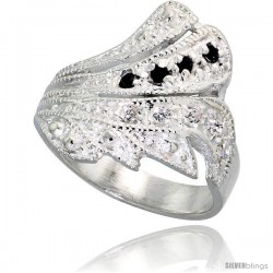 Sterling Silver Freeform Ring, High Quality Black & White CZ Stones, 3/4 in (17 mm) wide