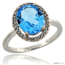 10k White Gold Diamond Swiss Blue Topaz Ring 2.4 ct Oval Stone 10x8 mm, 1/2 in wide -Style Cw904114