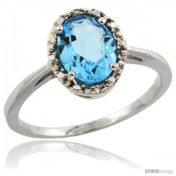 10k White Gold Diamond Halo Swiss Blue Topaz Ring 1.2 ct Oval Stone 8x6 mm, 1/2 in wide