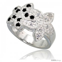 Sterling Silver Double Flower Ring, High Quality Black & White CZ Stones, 1/2 in (14 mm) wide