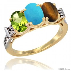 10K Yellow Gold Natural Peridot, Turquoise & Tiger Eye Ring 3-Stone Oval 7x5 mm Diamond Accent