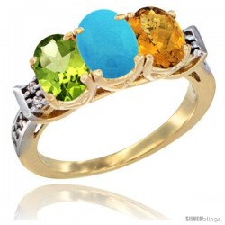 10K Yellow Gold Natural Peridot, Turquoise & Whisky Quartz Ring 3-Stone Oval 7x5 mm Diamond Accent