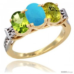 10K Yellow Gold Natural Peridot, Turquoise & Lemon Quartz Ring 3-Stone Oval 7x5 mm Diamond Accent