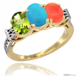 10K Yellow Gold Natural Peridot, Turquoise & Coral Ring 3-Stone Oval 7x5 mm Diamond Accent